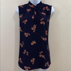 Carolina Belle Sleeveless 5 Button Floral Shirt